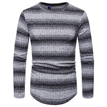 Sweater Mens Spring Slim Casual Striped Gradient Large Size S-XXXL European and American Simple Style Pullover