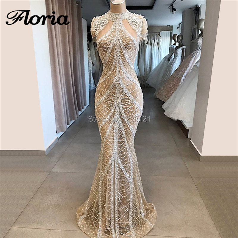 Amazing Shiny Rhinestone Evening Dresses Abiye Gece Elbisesi Kaftans Prom Dress 2019 Robe de soiree Islamic Arabic Dubai Gowns
