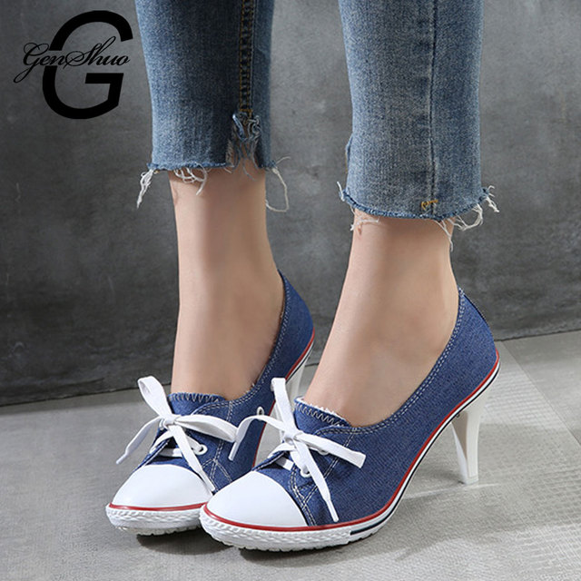 GENSHUO Women's Shoes High Heels Shallow Pumps Lace Up Casual Loafer Pumps Leisure Denim Canvas Shoes Women Plus size 34-41