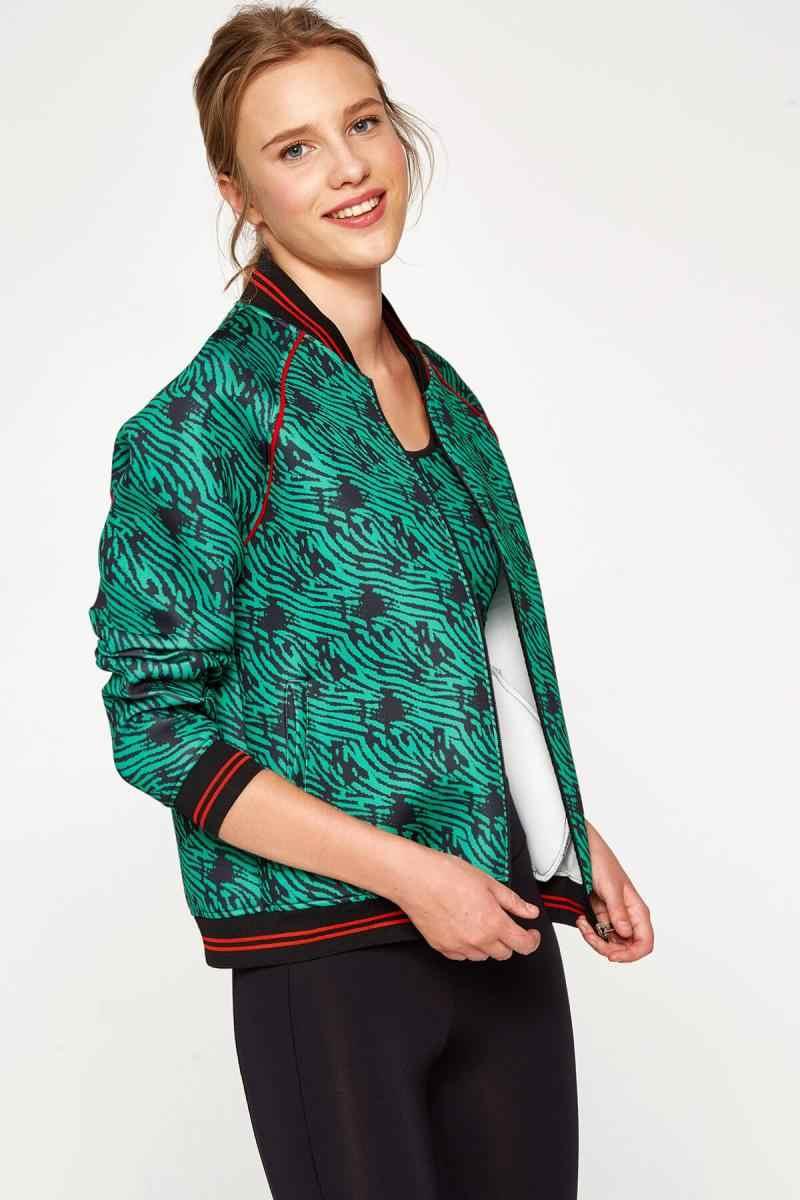 f71561a902ae5 Geribildirim Soruları hakkında Koton Kadın Yeşil Desenli Ceket ...