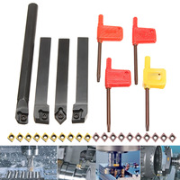 New 4 Set 12mm Lathe Turning Tool Holder Boring Bar with CCMT09T304 Inserts Blade For Lathe Turning Tool Cutter CNC Machine