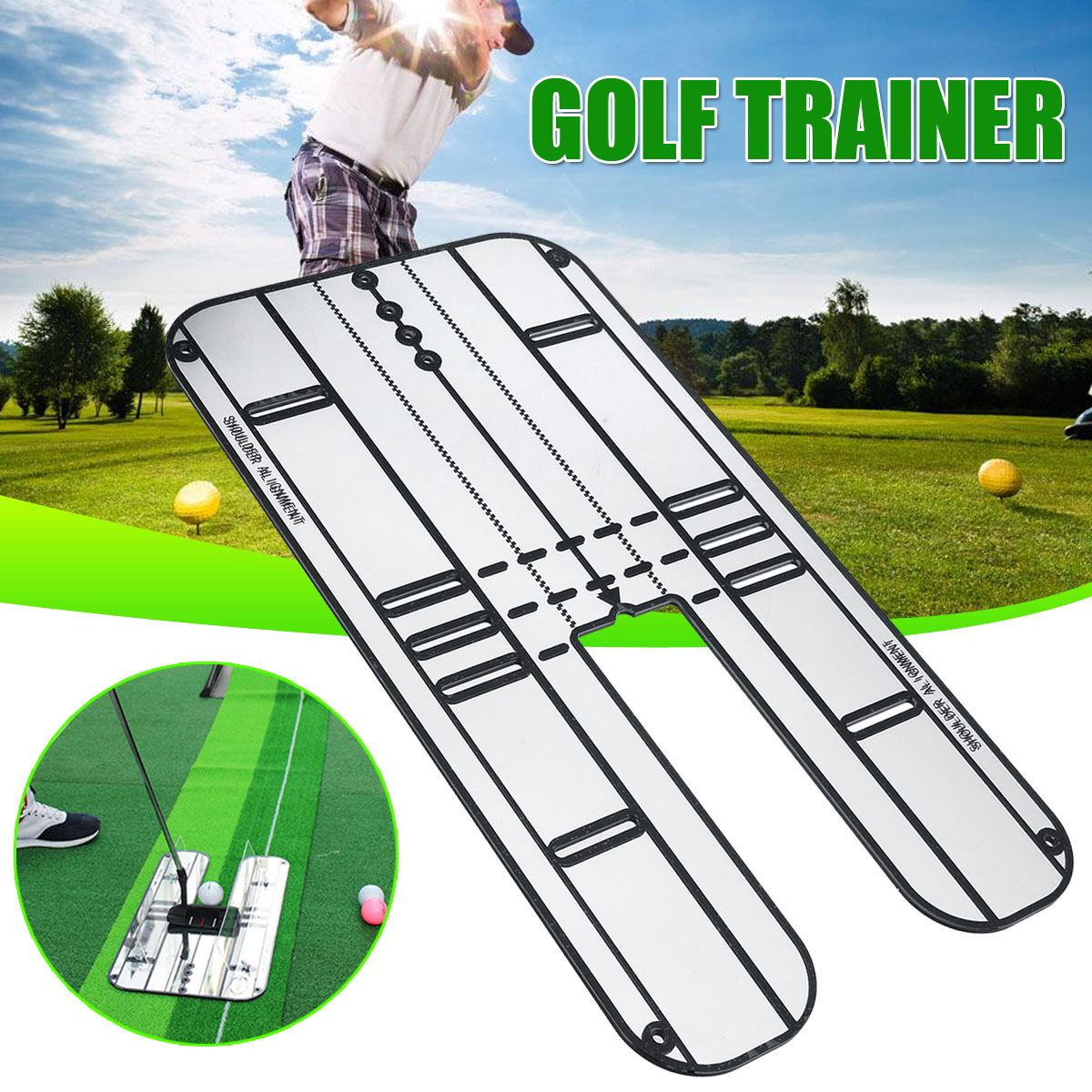 Golf Swing Trainer Portable Golf Putting Mirror Alignment Practice Training Aid Tool Eye Line Golf Accessories