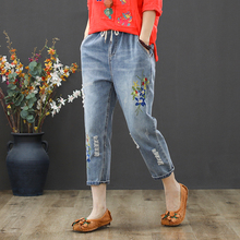 Vintage Floral Embroidery Jeans Female Casual Harem Denim Pants Jeans Women Fashion Pocket Blue High Waist Trousers Plus Size spring and winter women cartoon embroidery high waist harem pants casual trousers loose jeans 2017 cute blue denim jeans fashion