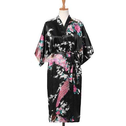 Woman Loose Style Pajamas Home Sleep Wear Lace Up Peacock Print V-neck Night Gown Japanese Kimono Yukata Bathing Robe Islamabad