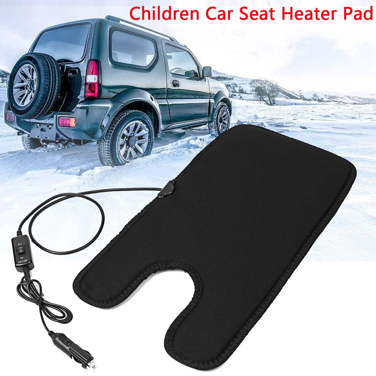 Universal 12V Auto Baby Winter Car Seat Cover Children Warm Seat Heating with Lighter and Switch 50x27cm