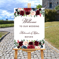 Wood Wedding Welcome Sign Marsala Burgundy Peonies Floral Boho Wedding Reception Rustic Entrance Sign,White Wedding Guest Book