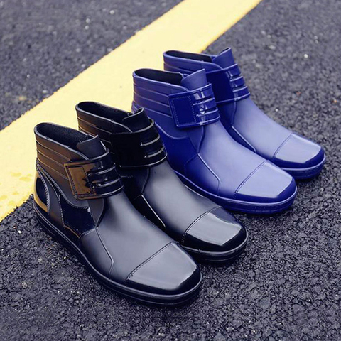 EXCARGO Men Ankle Boots Rainboots PVC Waterproof Shoes For Men 2019 Summer Fashion Hook Loop Male Rain Boots Rubber Shoes Islamabad