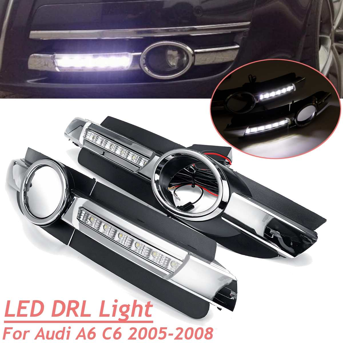 Car Front Bumper Drl Led For Audi A6 C6 2005 2006 2007 2008 Daytime  Running Light White Driving Fog Lamp Headlight AccessioriesCar Front Bumper Drl Led For Audi A6 C6 2005 2006 2007 2008 Daytime  Running Light White Driving Fog Lamp Headlight Accessiories