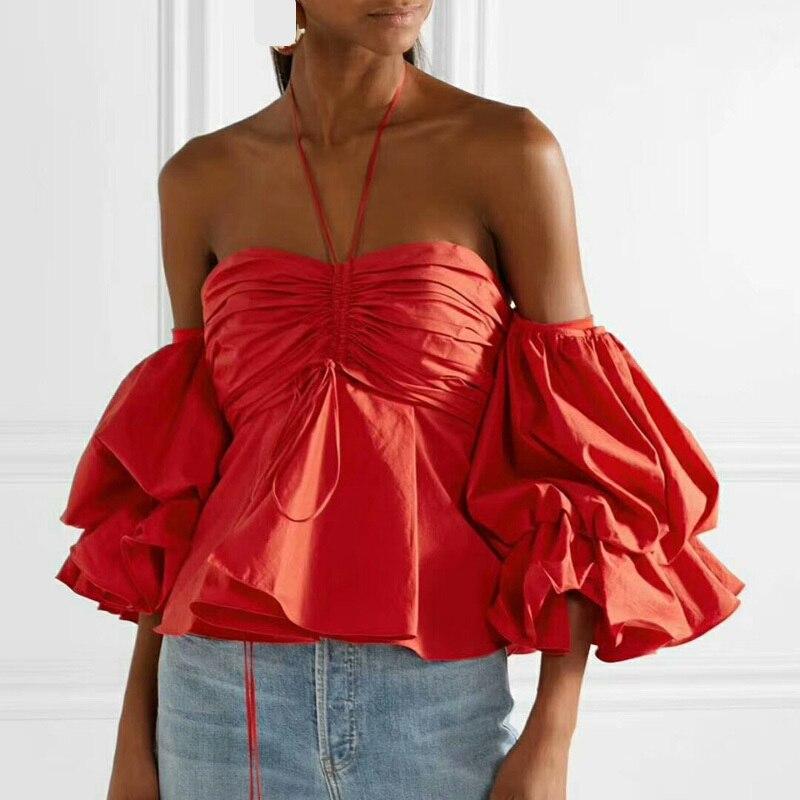 Sexy épaule dénudée vêtement bain de soleil 2019 printemps femmes élégant arc manches bouffantes chemisiers en mousseline de soie blanc/noir/rouge