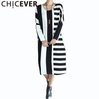 CHICEVER 2017 Autumn Striped Knitting Long Dress Women Tunic Loose Hit Colors Dresses Female Plus Big Size Clothes New Vestidos