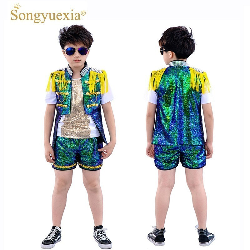 New Pattern Children The Shelf Drum Show Catamite Sir Dance Clothing Paillette Short Sleeve Model Stage Go Show Tide Drip-Dry Home