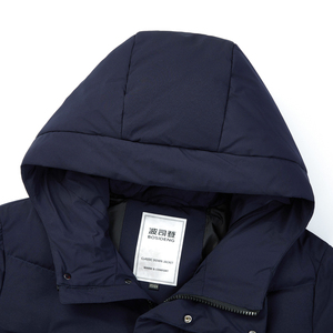 Image 4 - Bosideng 남성 후드 롱 다운 재킷 겨울 오버 무릎 패션 캐주얼 고품질 다운 코트 방수 파카 b80142015