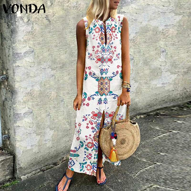 VONDA Bohemain Long Dress Women 2019 Summer Beach Sexy Sleeveless Split Dresses Vintage Vestidos Robe Casual Sundress Plus Size