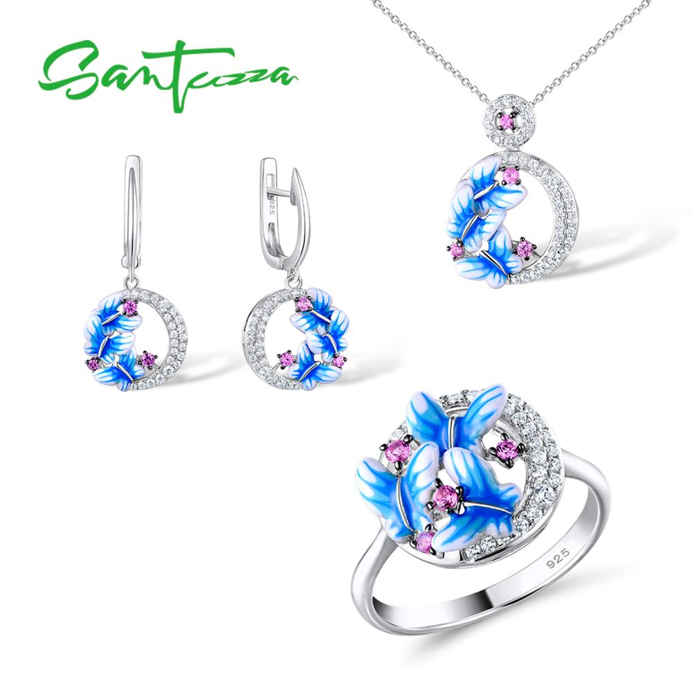 SANTUZZA Jewelry Set HANDMADE Enamel Butterfly CZ Stones Ring Earrings Pendent Necklace 925 Sterling Silver Women Jewelry SetSANTUZZA Jewelry Set HANDMADE Enamel Butterfly CZ Stones Ring Earrings Pendent Necklace 925 Sterling Silver Women Jewelry Set