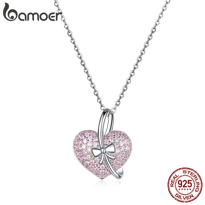 BAMOER Heart Silver Necklace 925 Luminous Pink CZ Bowknot Pendant Necklaces For Women Fine Jewelry Gifts For Her 45mm BSN049