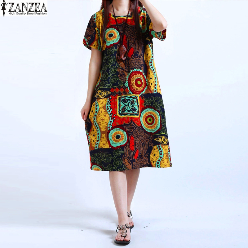 M-5XL ZANZEA UUS Naiste kaela õie printimine lühikeste varrukatega puuvillane linane vabaaja põlve pikkusega kleit Baggy Boho tuunika Kaftan Plus suurus