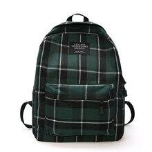 Women Checkered Bag Casual Backpack Travel Bagpack Green Ulzzang Harajuku Plaid White Female Korean Fashion Yellow School Bags