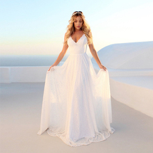 Lace Spaghetti Strap V-neck Wedding Dresses Backless Lorie Boho Dreamy Bridal Gowns Sexy Beach Vestido De Noiva 2019
