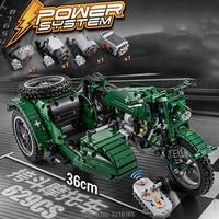 629pcs WarII 3 Wheel RC Motorbike Building Blocks Set 2pcs Motor Battery Box Bricks Apply to Legoes technic Toys Gift Kid