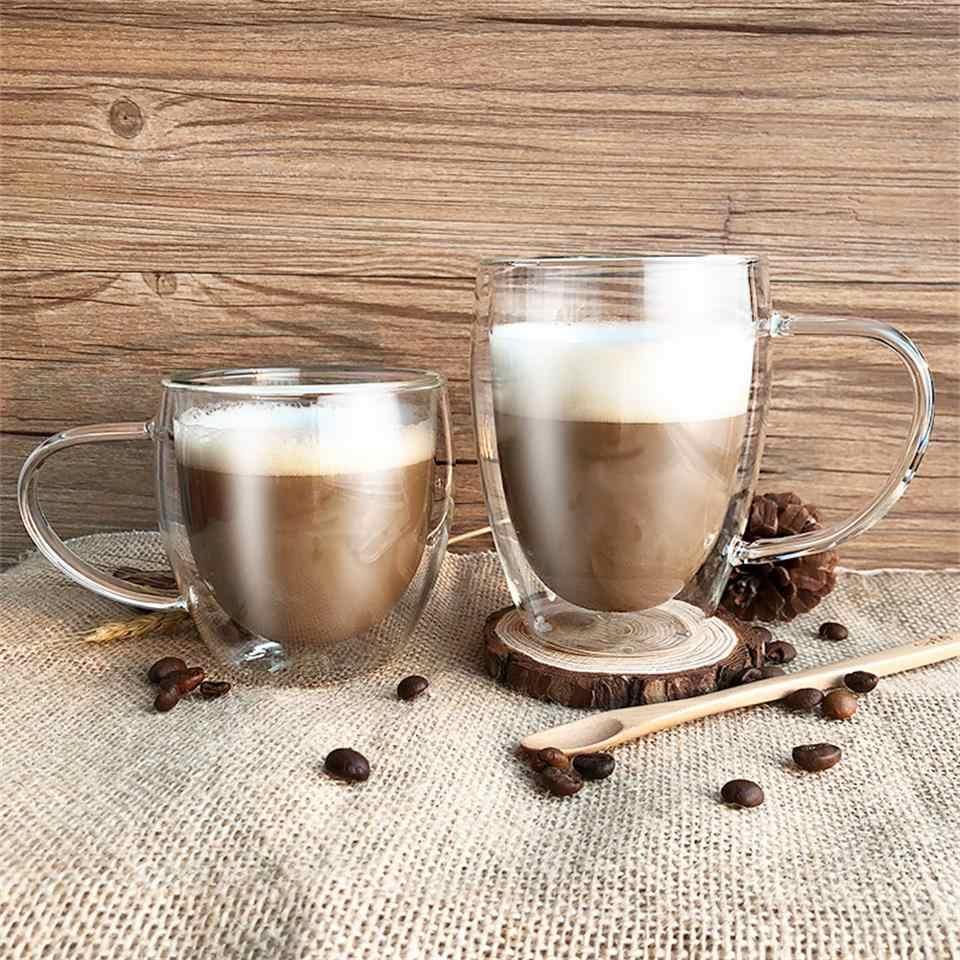 Copos de café dobro resistentes ao calor da parede do café/chá e canecas do curso canecas de café dobro com o punho canecas bebendo vidros do tiro