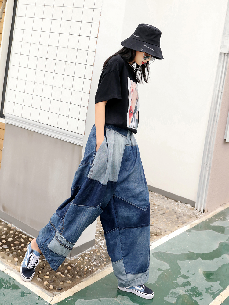 Décontracté Blue Jean Femmes Bas Lâche Large Patchwork Qf732 Denim Bleu En Cowboy Printemps Pantalon Oversize Qing Mo HwqaRRv