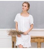 2018 Woman Summer Pure Cotton Easy Sweet dresses Short Sleeve Korean Lingerie Sleepwear Roupas Feminina Nighty Nightwear Lady