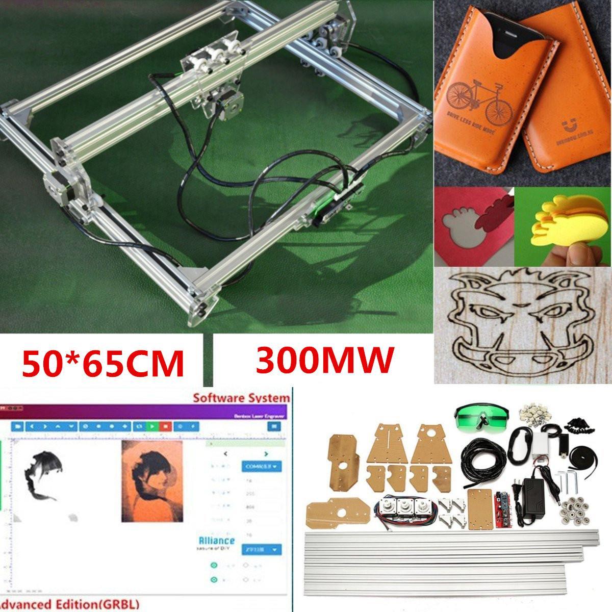 Mini 50*65 cm 405nm 300 mw Blu del Laser di CNC Macchina Per Incidere DC 12 v FAI DA TE Incisore Desktop di Legno router/Cutter/Stampante + Occhiali di Protezione Laser