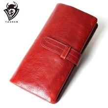 Frauen Mode RFID Rot Farbe Lange Brieftasche Echte Öl Wachs Rindsleder Bifold Geldbörsen Geldbörse Vintage Designer Geldbörse