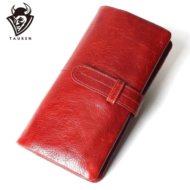Kadın moda RFID kırmızı renk uzun cüzdan hakiki yağ balmumu inek derisi deri iki kat cüzdanlar çanta Vintage tasarımcı bozuk para cüzdanı