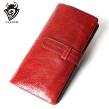 Women Fashion RFID Red Color Long Wallet Genuine Oil Wax Cowhide Leather Bifold Wallets Purse Vintage Designer Coin Purse