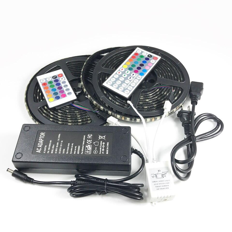 rgb led strip 10m 600leds SMD 5050 nylon buckle tape 12V 10A power adapter 24/ 44Key IR Remote light kit for car cover lighting