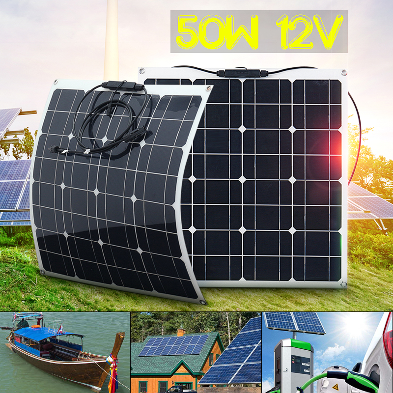 50W 12V Solar Panel Solar Cell Sunpower Battery Cigarette Lighter With MC4 Connector Charging for RV/ Boat h 001 solar battery cell component waterproof mc4 connector black 2 pcs