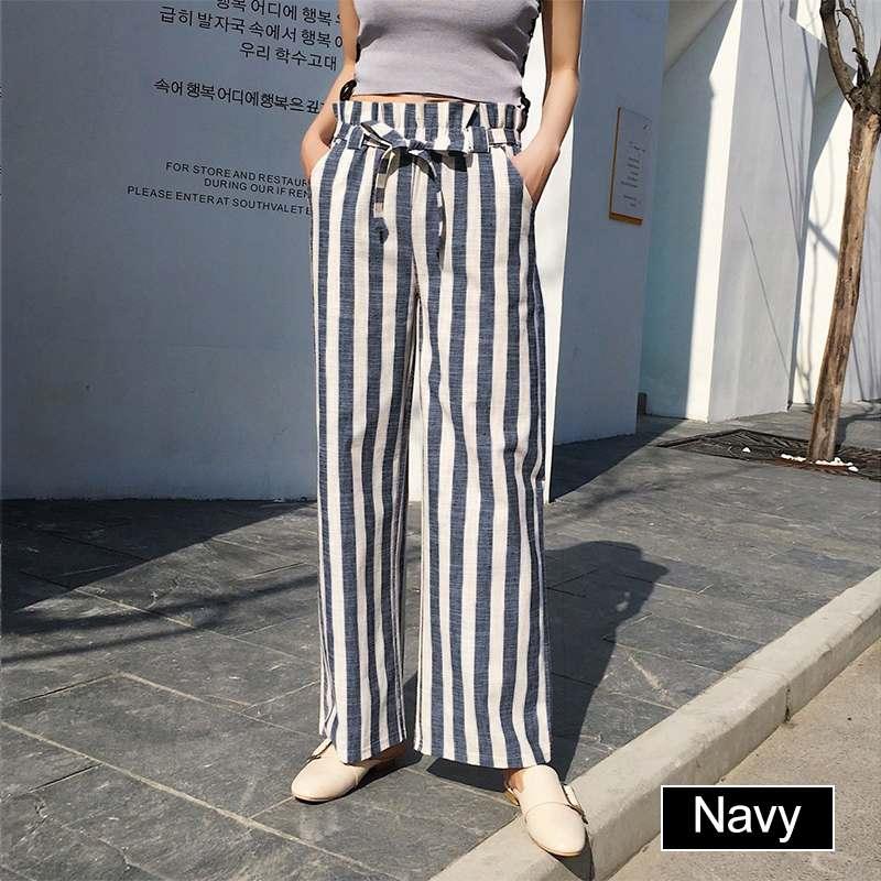 VONDA Female Striped Pants Plus Size Vintage Wide Leg Pants Casual Loose 2019 Women Fashion Belt Pants Bottoms Long Trousers