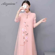 2019 Spring Summer Loose Style Long Qipao Modern Casual Cheongsam Pink Hand Painted Gown Women Traditional Chinese Satin Dress