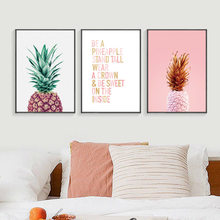 Pink Pineapple Nordic Poster Cuadros Decoracion Wall Art Canvas Painting Posters And Prints Wall Pictures Canvas Art Unframed(China)
