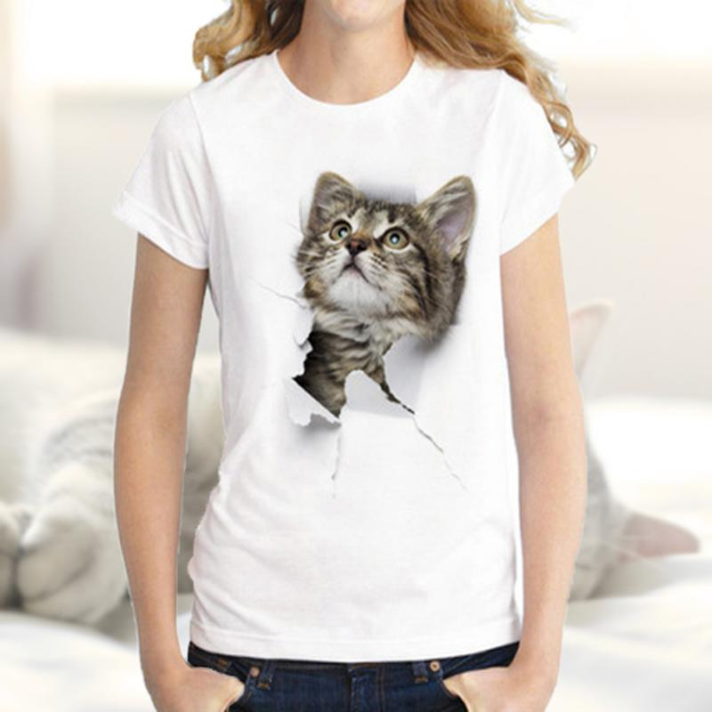 Casual Cute Rock Cat Fashion Print T-shirt Ladies Short Sleeve Solid Color Cotton Sweat-absorbent Comfortable Solid Color Top