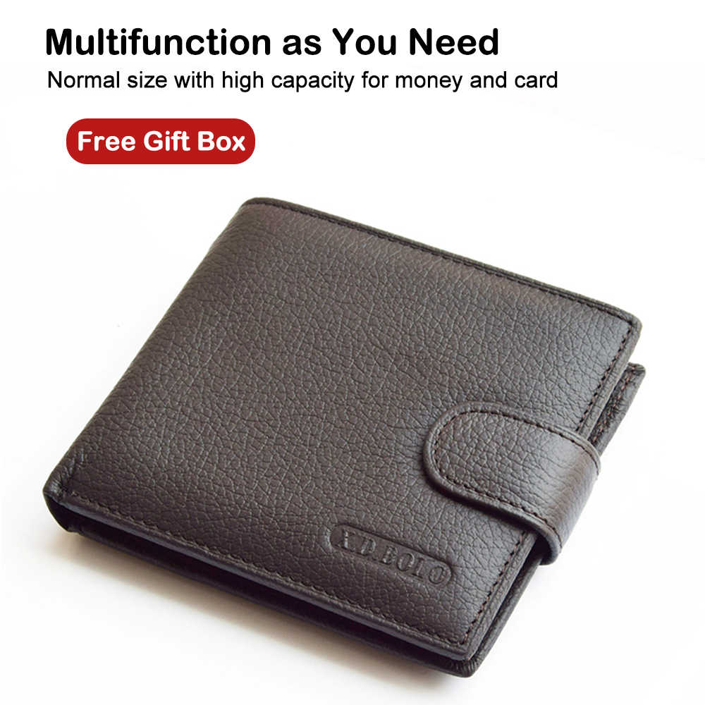 X.D.BOLO 2019 Genuine Leather Men Wallets Cow Leather Wallet Men Coin Pocket Money Bag Fashion Mens Purses With Card Holder