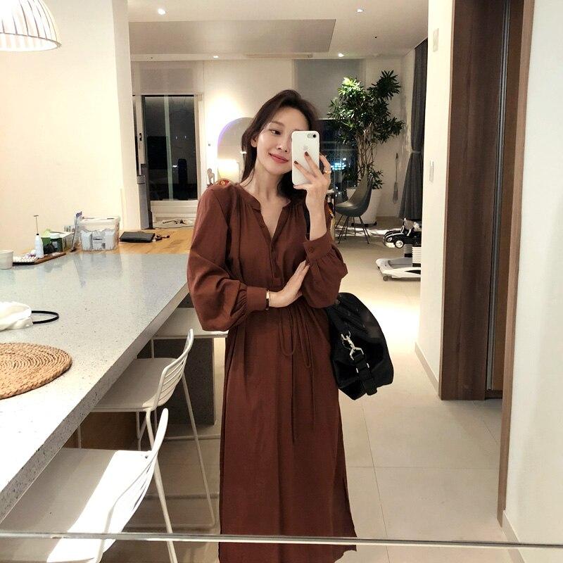 2018 new loose long lace-up Shirt Dress Women's fashion OL Puff Sleeve brown Long Sleeve Dress Bandage V-Neck Office Dress