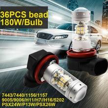 180W 2828 36SMD 2pcs 5202 H16 LED Auto Car Fog Lamp Bulb H7 H11 9005 9006 PSX26W Lights White Parking Turn Single Light