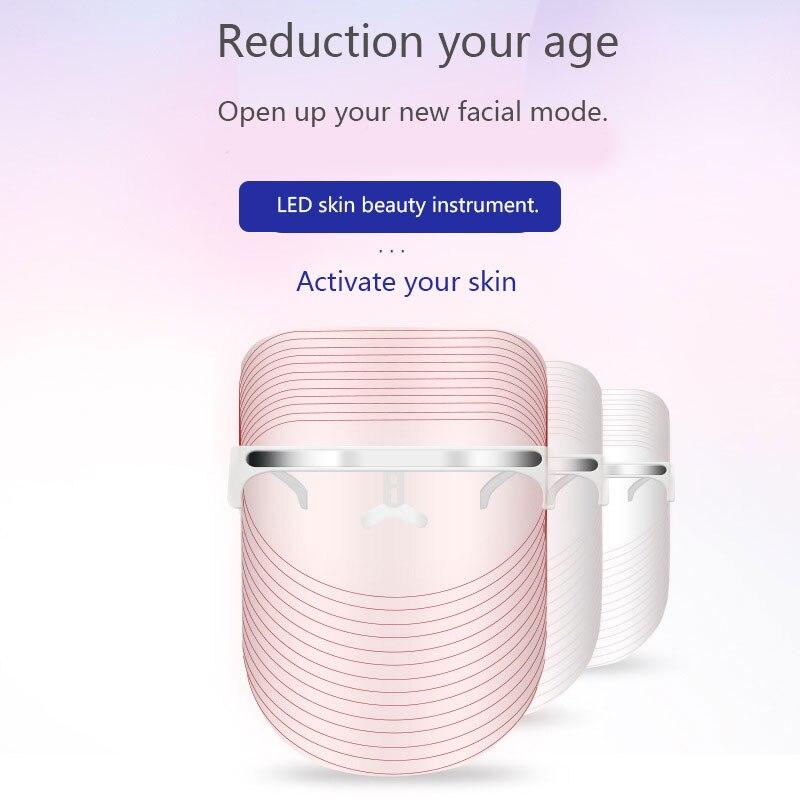 2 couleurs LED masque de beauté SPA du visage blanchissant et rajeunissement de la peau