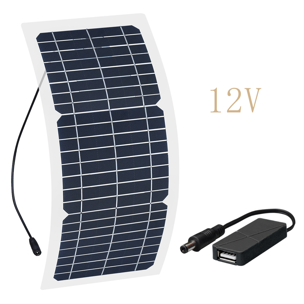 Image 2 - Xinpuguang 10W 18V/12V/6V Solar Panel Semi Flexible Cable Monocrystalline Cells DIY Module USB Connector Charger DIY Kit Outdoor-in Solar Cells from Consumer Electronics