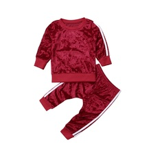 Emmababy Spring Autumn Warm Soft Toddler Kids Baby Girl Clothes Lovely Velvet Sweatshirt Tops Long Pants Tracksuit Outfit Set