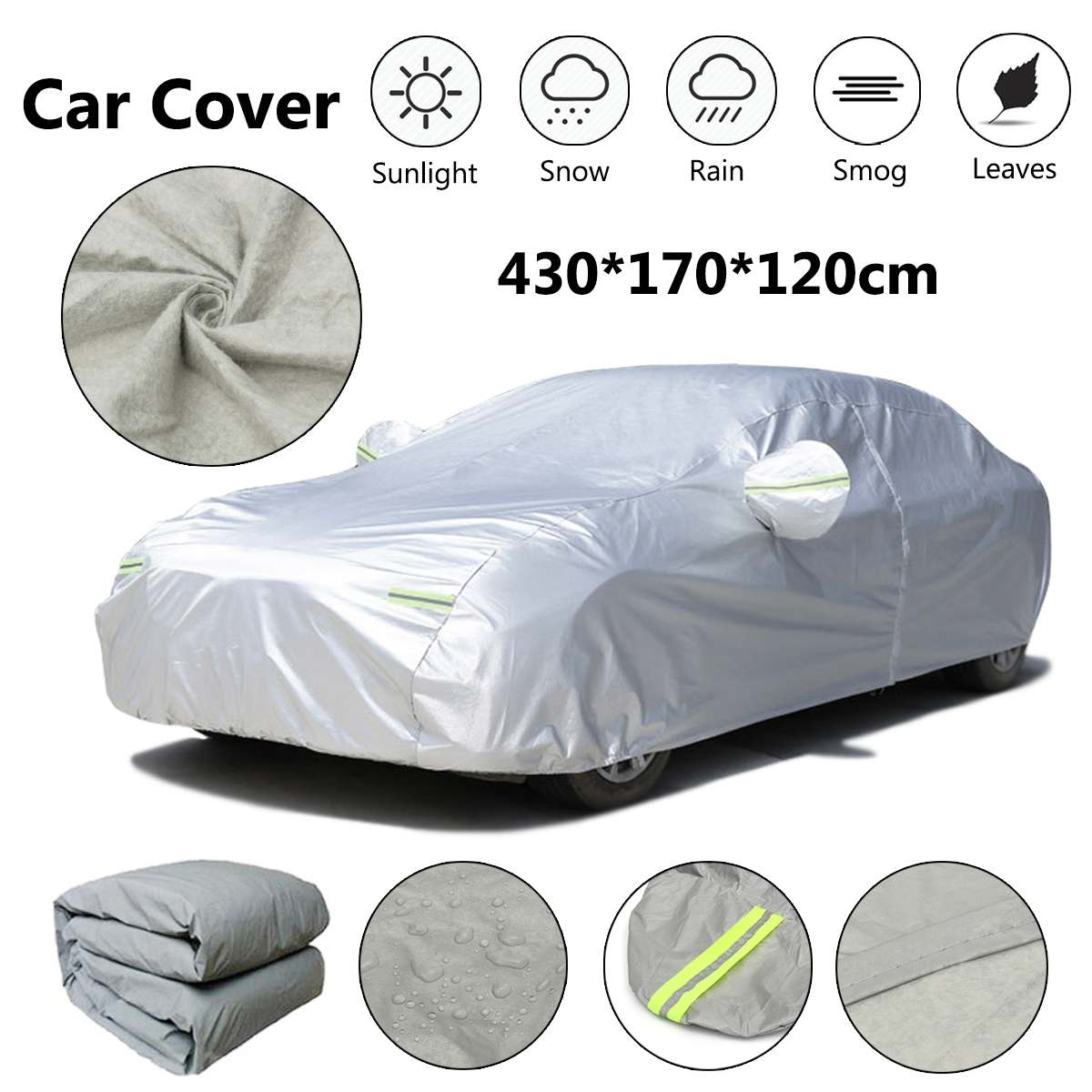 Universal S Outdoor Waterproof Silver Full Car Auto Cover covers Dust Rain Snow Sun Protection 430*170*120cm