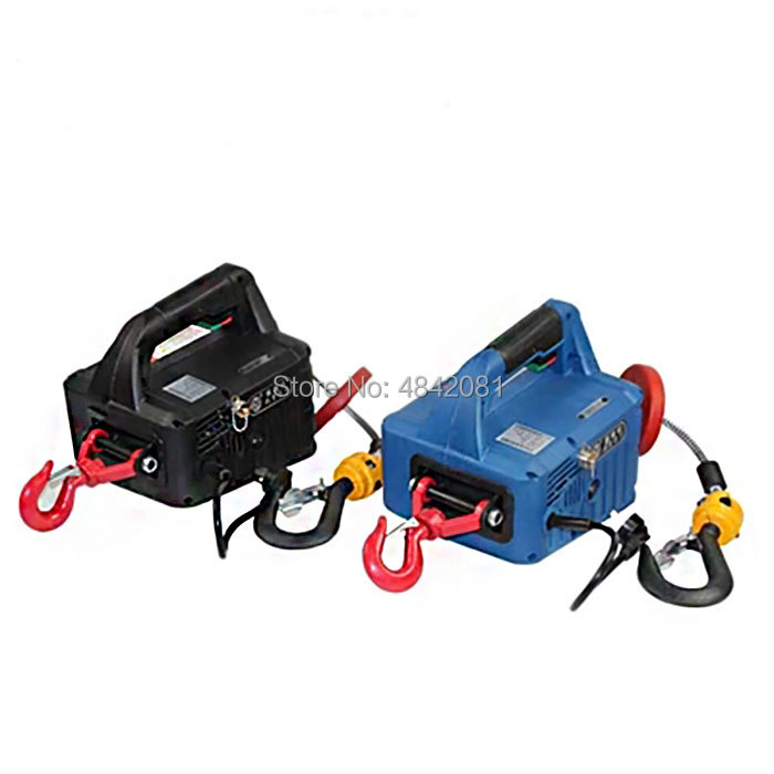 Купить с кэшбэком 500KG 7.6M Portable electric winch hand winch traction block electric steel wire rope lifting hoist towing rope