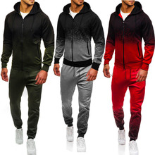 Zipper Tracksuit Men Causal Two Pieces Sets Sweatsuit Mens Gradual Change Clothes Printed Hooded Hoodies + Pants Track Suit Male