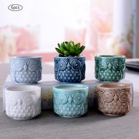 AUGKUN 6PCS/LOT Ceramic Succulent Plant Flower Pot Owl Pattern Small Flow Glaze Coarse Pottery Ventilated Home Office Decoration