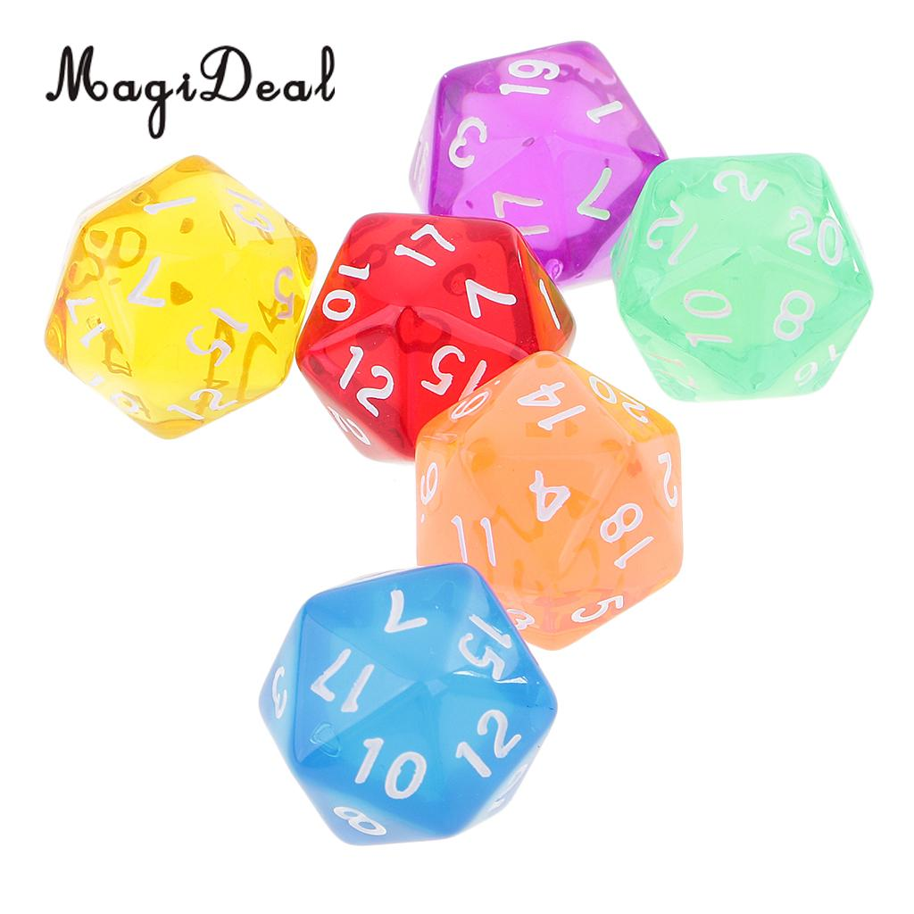 MagiDeal 6Pcs/Lot Acrylic 20 Sided D20 Polyhedral Dices Clear For Party Table Games D&D MTG RPG.Education School Supplies 16mm