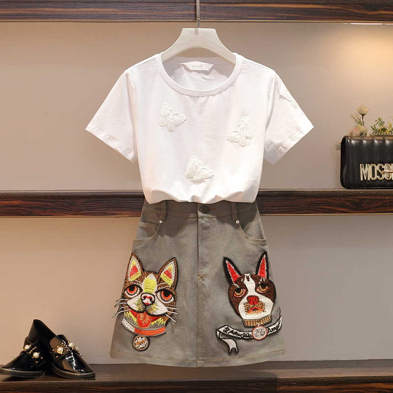 5XL Large Size Clothing Suit Women 3D Butterfly Appliques Cotton White T-Shirts Top Dog Cartoon Embroidery Pocket Mini Skirt Set