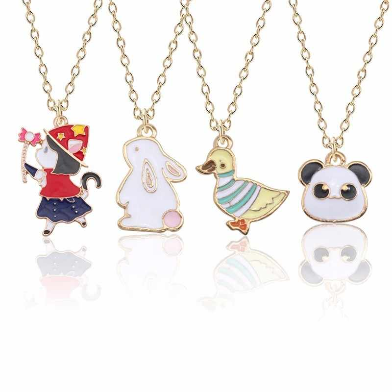 Cute Animal Necklace For Women Kawaii Rabbit Bunny Pendant For Girls Colorful Cartoon Anime Duck Panda Necklaces&Pendants Xmas