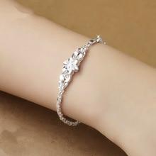 NoEnName Fine Classic Style 925 Sterling Silver Bracelet 925-sterling-silver diamond Jewelry Chain Bracelets for Women topaz